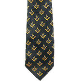 Masonic Neck Tie - Black and Yellow Polyester long tie with small duplicated Masonic pattern design for Freemason members