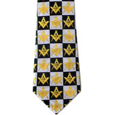 Masonic Neck Tie - Black and White Polyester long tie with Checkerboard Masonic pattern design for Freemasons