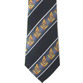 Masonic Neck Tie - Black background and Gold Compass and Square symbols with white lines on Polyester long tie with diagonal Masonic pattern design for Freemasons