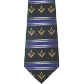 Freemason's Tie - Black Polyester Long Necktie with Gold Masonic Symbols and Striped Pattern Design Masonic Regalia Clothing
