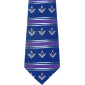 Freemason's Tie - Blue Polyester Long Necktie with White Masonic Symols and Striped Pattern Design Masonic Clothing