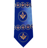 Freemason's Tie - Blue Polyester long necktie with swirl flowing Masonic pattern design Masonic clothing