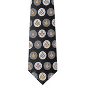 Freemason's Tie - Black and Gray Polyester long tie with polka dot Masonic pattern design Masonic clothing