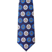 Freemason's Tie - Blue and White Polyester long tie with polka dot Masonic pattern design Masonic clothing