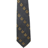 Freemason's Tie - Black and Yellow Polyester long necktie with diagonal Masonic pattern design Masonic clothing
