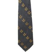 Freemason's Tie - Black and Yellow Polyester long necktie with diagonal Masonic pattern design Masonic clothing