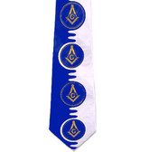 Tie for Free Mason Member - Navy Blue and White Polyester long tie with unique Masonry pattern design - Masonic Apparel