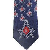 Tie for Free Mason Suit Formal Attire - Navy Polyester long tie with bold red center Masonic pattern design - Masonry Apparel Neckties