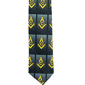 Necktie for Freemason Lodge Attire - Black and Gray Polyester long tie - Large lined card pattern Masonic emblem design - Masonry Clothing Formal Suit