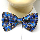 Masonic Regalia - Bowtie for Freemason Lodge Attire - Pre-tied Blue bow tie with boxed Masonic pattern design. Masonry Clothing Formal Suit or Tuxedo