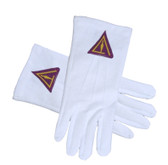 Cryptic Mason Royal Select - York Rite Trowel symbolism - Masonic Cotton Gloves - White (One Size Fits Most) For Freemasons Formal Wear Regalia Accessories.