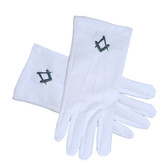 Masonic Standard Elegant Plain Blue Style Square and Compass Face Cotton Gloves - White (One Size Fits Most). Freemason Regalia Formal Wear Clothing.