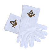 Masonic Regalia - Standard Gold Style Compass Face Cotton Gloves - White (One Size Fits Most). Masonic Clothing and Formal Attire.