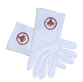 Masonic Standard Red Symbol in Circle - Square and Compass Face Cotton Gloves - White (One Size Fits Most). Masonic Regalia Clothing and Formal Attire