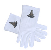 Masonic Past Master Ancient Compass Face Cotton Gloves - White (One Size Fits Most). Masonic Regalia Clothing and Formal Attire.