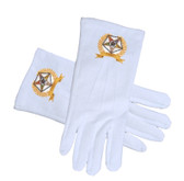 OES Star Face Cotton Gloves - White with Golden Laurel Design (One Size Fits Most) - Order of the Eastern Star Regalia, Clothing and Formal Attire.
