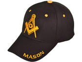Black Masonic Baseball Cap - Golden Masonic Order Symbol, brim Mason text & adjustable strap on back of hat. Masonic Clothing, Apparel and Merchandise