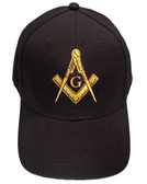 Freemason's Baseball Cap - Black Hat with Golden Standard Masonic Symbol - One Size Fits Most Adults. Masonic Gifts