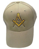 Freemason's Baseball Cap - Tan Hat with Golden Standard Masonic Symbol - One Size Fits Most Adults. Freemason Clothing, Apparel and Merchandise.