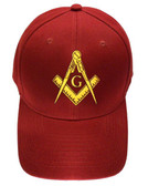 Freemason's Baseball Cap - Dark Red Hat with Golden Standard Masonic Symbol - One Size Fits Most Adults. Freemason Merchandise, Clothing and Apparel.
