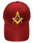 Freemason's Baseball Cap - Dark Red Hat with Golden Standard Masonic Symbol - One Size Fits Most Adults. Freemason Merchandise, Clothing and Apparel.