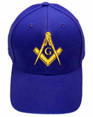Freemason's Baseball Cap - Blue Hat with Golden Standard Masonic Symbol - One Size Fits Most Adults. Masonic Clothing, Apparel and Merchandise.