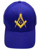 Freemason's Baseball Cap - Blue Hat with Golden Standard Masonic Symbol - One Size Fits Most Adults. Masonic Clothing, Apparel and Merchandise.