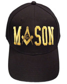 Freemason's Baseball Cap - Black Hat with Gold Masonic Text Wrap and Symbolism - One Size Fits Most Adults Masonic Cap. Masonic Gifts.