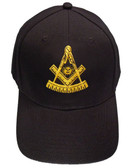 Freemason's Baseball Cap - Black Hat with Golden Past Master Masonic Symbol - One Size Fits Most Adults. Freemason Clothing, Apparel and Merchandise.