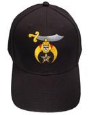 Shriner's Masonic Baseball Cap - Black Hat with Standard Shriners Freemason Symbol - One Size Fits Most. Freemason Clothing, Apparel and Merchandise
