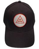 Royal Arch Masonic Baseball Cap - Black Hat with Royal Arch Triple Tau Freemasons Symbol - One Size Fits Most Adults