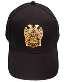 Masons Baseball Cap - Standard Scottish Rite Wings DOWN - Masonic Black Hat with 32nd degree Symbol - One Size Fits Most Cap for Freemasons
