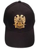 Masons Baseball Cap - Standard Scottish Rite Wings DOWN - Masonic Black Hat with 32nd degree Symbol - One Size Fits Most Cap for Freemasons
