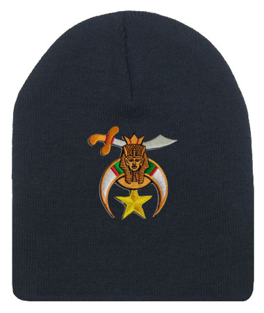 Shriner's Masonic Winter Hat - Black Beanie Cap with Standard Shriners Freemason Symbol - One Size Fits Most Adults Shriners_Black_Beanie_Hat_Standard_Icon