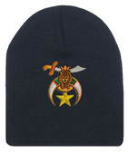 Shriner's Masonic Winter Hat - Black Beanie Cap with Standard Shriners Freemason Symbol - One Size Fits Most Adults