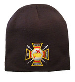 Masons Winter Cap - Order of the Knights of Templar - Masonic Black Beanie Hat with Colorful Symbol - One Size Fits Most Cap for Freemasons