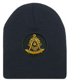 Freemason's Cap Winter - Black Beanie Hat with Golden Past Master Masonic Symbol - One Size Fits Most. Freemason Merchandise, Clothing and Apparel.