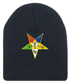 Order of the Eastern Star - Black Beanie Cap with Colorful Standard OES Symbol - Hat One Size Fits Most Adults. Freemason Merchandise.