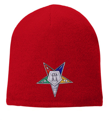 Order of the Eastern Star - Red Beanie Cap with Colorful Standard OES Symbol - Hat One Size Fits Most Adults. Freemason Merchandise. OES_Red_Beanie_Hat_StarPlain