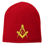 Freemason's Cap Winter - Red Beanie Hat with Golden Standard Masonic Symbol - One Size Fits Most Adults. Masonic Clothing, Apparel and Merchandise.