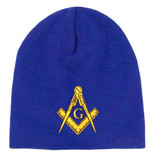 Freemason's Hat Winter - Blue Beanie Cap with Golden Standard Masonic Symbol - One Size Fits Most Adults. Masonic Clothing, Apparel and Merchandise.