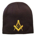 Masonic Hat Winter - Black Beanie Cap with Golden Standard Masons Symbol - One Size Fits Most Freemasons Hat. Masonic Clothing, Apparel and Merchandise.