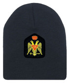 Masons Cap Beanie. Scottish Rite Wings DOWN w/ Red Crown. Masonic Black Winter Hat. 33rd Degree Symbol. One Size Fits Most Cap for Freemasons