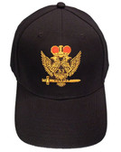 Masons Baseball Cap - Standard Scottish Rite Wings UP with Red Crown - 33rd Degree Masonic Black Hat - One Size Fits Most. Cap for Freemasons