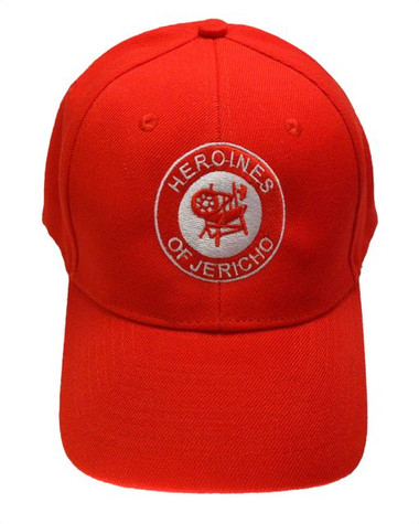 Masonic Baseball Cap - Red Hat with Red Heroines of Jericho Masonic Symbol - One Size Fits Most Adults. Freemason Merchandise, Clothing and Apparel. Hero_Jericho_RED_BaseballCap_RedIcon