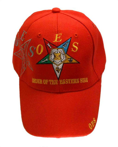 Order of the Eastern Star - Red Baseball Cap with Colorful Standard OES symbolism spread out on the side and front - Hat One Size Fits Most Adults OES_RED_BaseballCap_Star_SideSpread