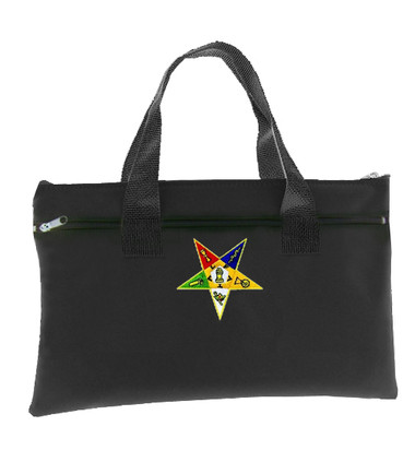 Black OES Tote Bag for Order of the Eastern Star - Colorful Classic Cut Out Logo OES_Black_Tote_Bag_Patch_Standard_Cut_Out_Logo