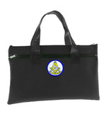 Past Master Black Masonic Tote Bag for Freemasons - Blue and White Round Classic Icon
