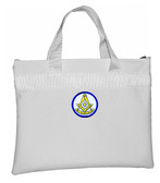Past Master White Masonic Tote Bag for Freemasons - Blue and White Round Classic Icon