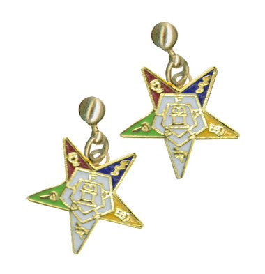 OES Dangling Earrings with Order of the Eastern Star Symbolism - One Pair. Great O.E.S Gift. OES_Star_Gold_Dangler_Earrings_Pair